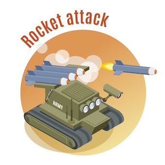 Rodada de ataque de foguete com tanque robô de tiro em ação de guerra engajada isométrica