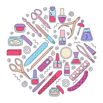 Rodada de equipamentos de manicure