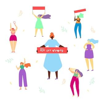 Rodada de meninas de mulher com grande banner somos mulheres