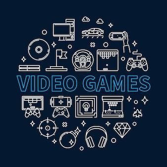 Rodada de videogame ilustração de contorno