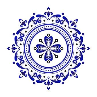 Rodada decorativa azul e branca