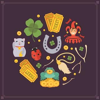 Rodada design de decoração de vetor feito de amuletos da sorte