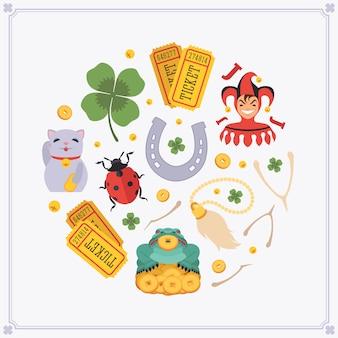 Rodada design de decoração feita de amuletos da sorte