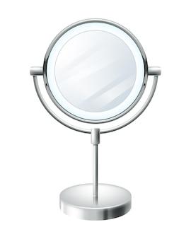 Rodada em branco realista compõem a ilustração do espelho. símbolo de moda beleza.