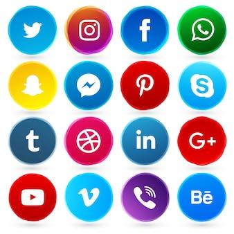 Rodada ícones de rede social
