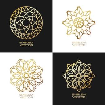 Rodada logotipo design ouro modelos definidos no estilo linear.