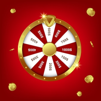 Rodada realista de fortuna de spinning 3d, roleta de sorte
