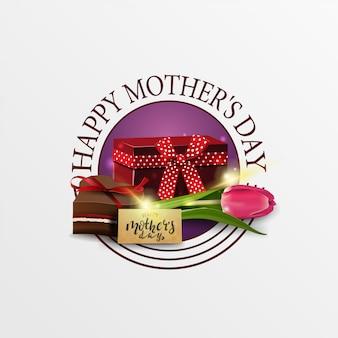 Rodada saudação banner para o dia da mãe com presente, tulipa e doces