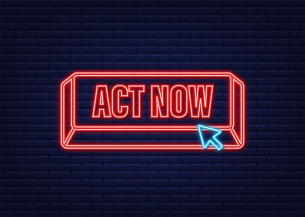 Rodada vermelha agir agora botão de néon em fundo branco. ilustração em vetor das ações.