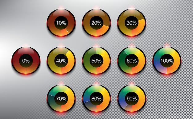 Rodadores de carregamento redondo. barras de carregamento de progresso. isolado no fundo branco.