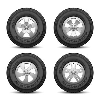 Rodas de caminhão e carro com pneus e ilustração vetorial de disco