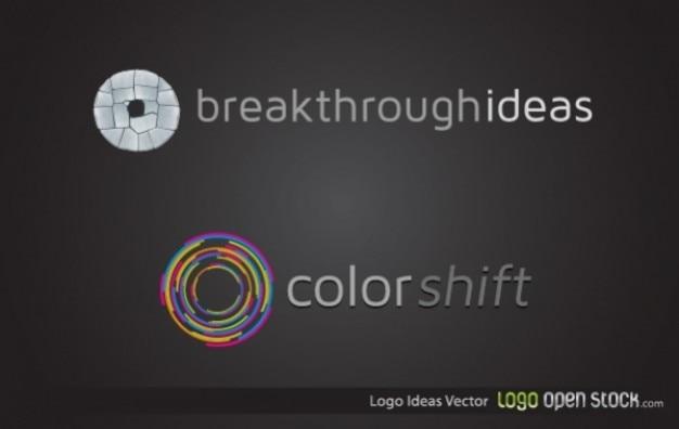 Rodas logotipo romper idéias e mudança de cor