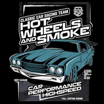 Rodas quentes e fumaça, ilustração vetorial de carro