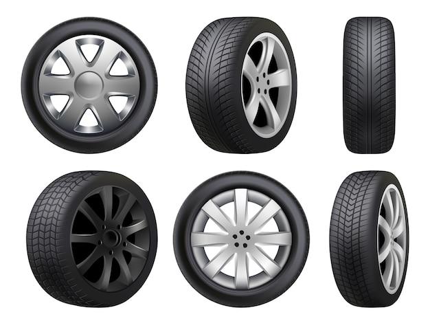 Rodas realistas. coleta de itens automotivos em 3d para manutenção de estradas de pneus
