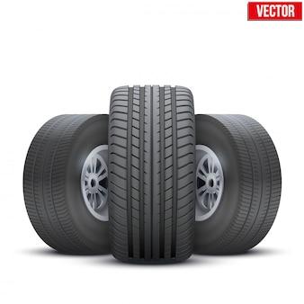 Rodas realistas e conceito de pneu. ilustração