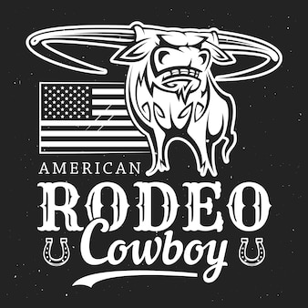 Rodeio de cowboy de touro, bandeira americana e ferradura