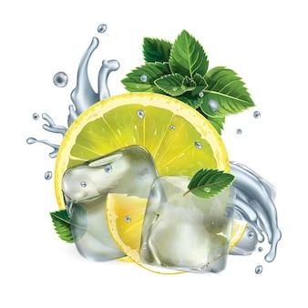 Rodelas de limão, folhas de hortelã e respingos de água com cubos de gelo