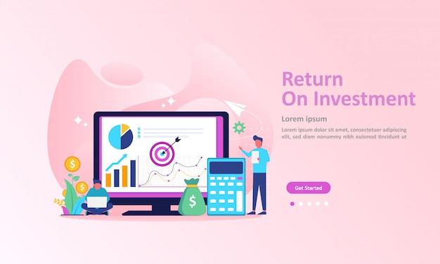 Roi, pessoas gerenciando gráfico financeiro, receita de lucro landing page