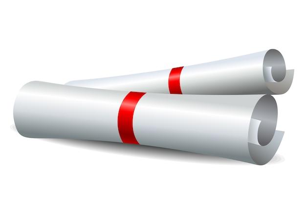 Rolagem de papel com fita vermelha Vetor Premium
