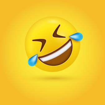 Rolando no chão com cara de emoji rindo em um emoticon rofl engraçado moderno