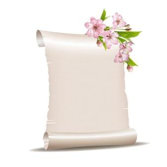 Role o papel em branco com ramo de cerejeira em flor