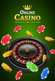 Roleta de cassino com chips, moedas e banner de cartaz jogo realista dados vermelhos. folheto do projeto da roda de roleta da fortuna de vegas do casino
