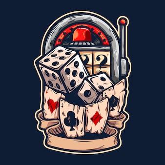 Roleta de cassino com dadinhos e ilustração de cartas de jogar