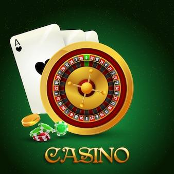 Roleta realista com fichas de pôquer, dados, baralho.