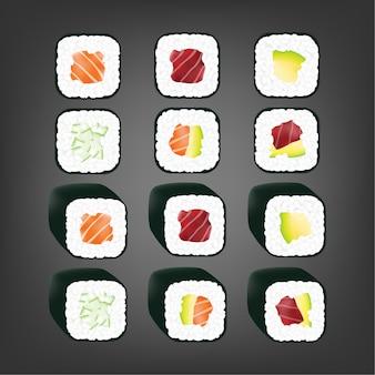 Rolinho de sushi japonês realista