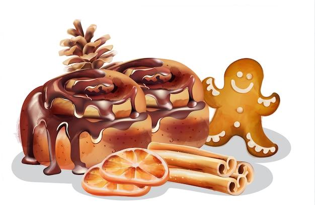Rolinhos de canela com cobertura de chocolate e enfeites de inverno
