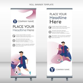 Roll banner jogador de futebol drible bola