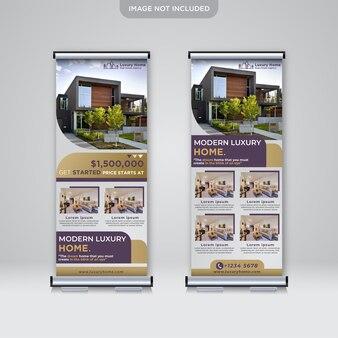 Roll design de banner para negócios imobiliários