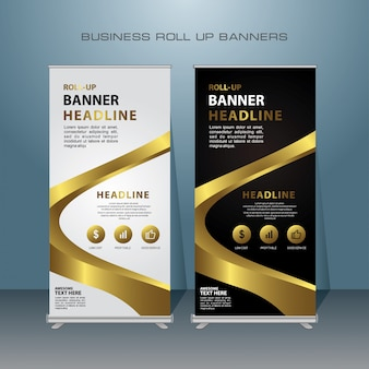 Roll up banner design moderno, com cor de ouro