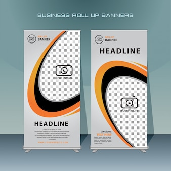 Roll up banner design moderno com cor laranja