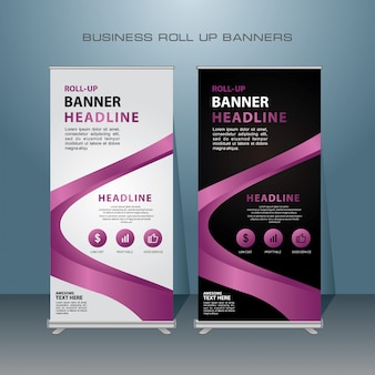 Roll up banner design moderno com cor roxa