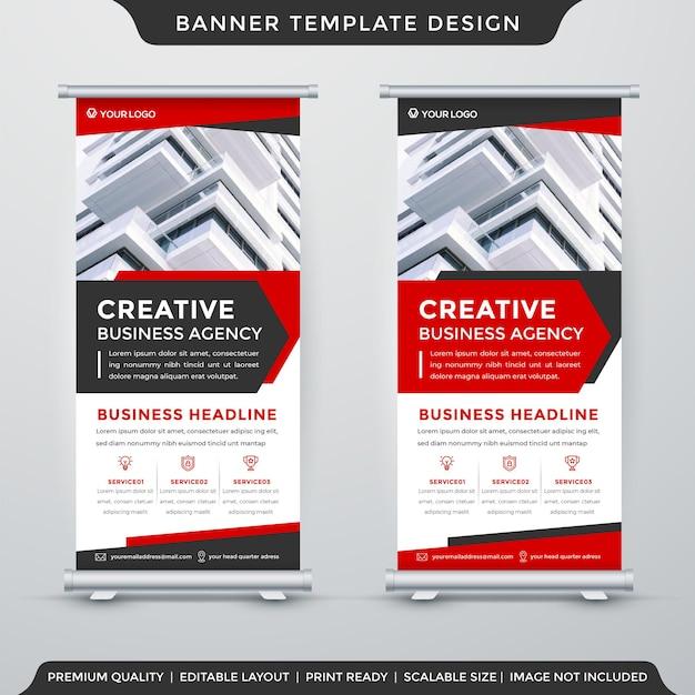 Roll up banner template layout com uso de estilo premium para exibição comercial e anúncio promocional