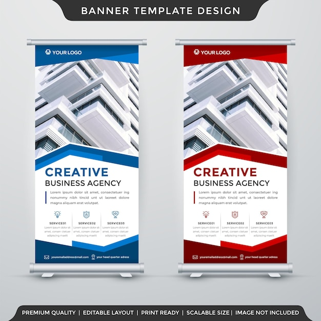 Roll up banner template vector premium
