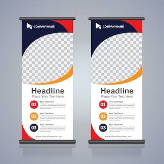 Roll up brochura flyer banner design template, fundo abstrato, pull up design, moderno x-banner e flag-banner, tamanho do retângulo.