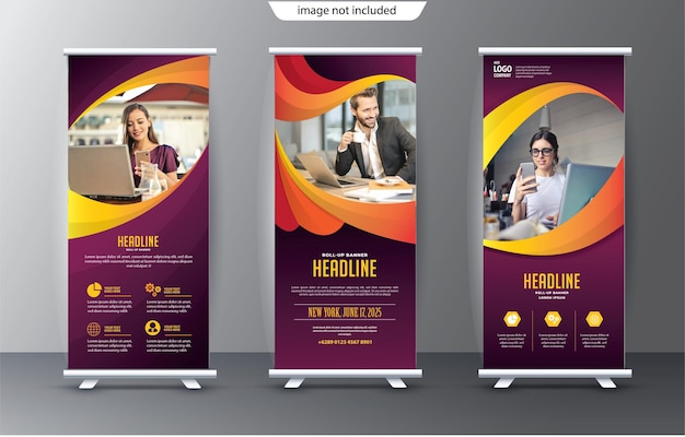 Roll up display standee template para fins de apresentação e publicidade