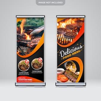 Roll up standee banner menu de comida deliciosa