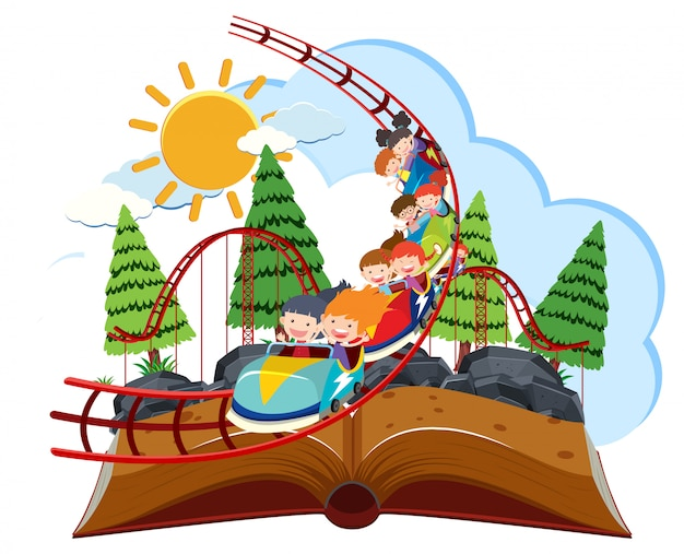 Rollacoaster theme park em pop-up livro