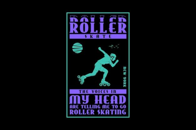 .roller skate, design silhueta estilo urbano