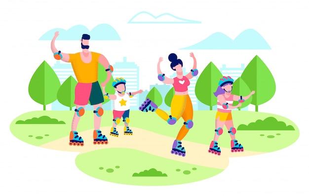 Rollerskating família no vetor plana de parque da cidade