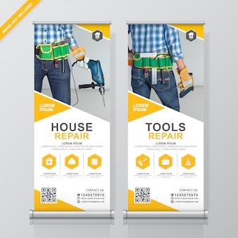 Rollup de ferramentas de construção e modelo de design de standee