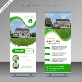 Rollup imobiliário xbanner modelo de design para empresa de corretor de imóveis
