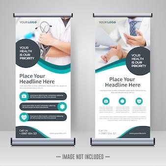 Rollup médica ou modelo de design de banner x