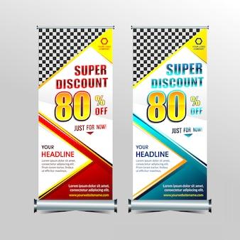 Rollup ou em pé x-banner modelo super oferta especial venda conjunto de desconto