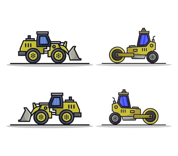 Rolo compactador e escavadeira de desenho animado