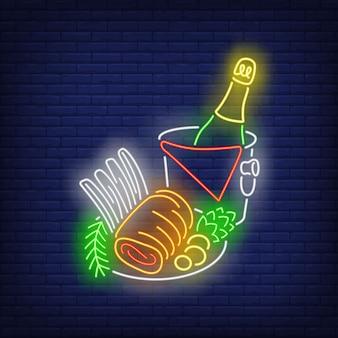 Rolo de carne de natal sinal de néon
