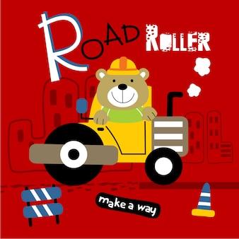 Rolo de estrada e urso engraçado dos desenhos animados de animais